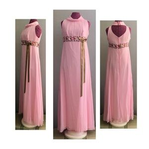 Vintage 1970s Maxi Prom Bridesmaid Pink Dress